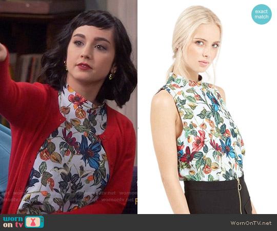Topshop Winter Fruit Print Shell worn by  Molly Ephraim on Last Man Standing