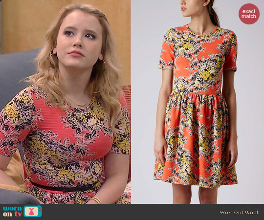 Topshop Floral Texture Flippy Dress worn by Taylor Sprietler on Melissa & Joey