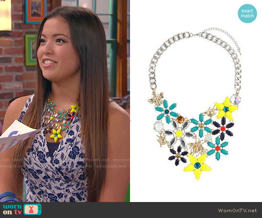 Topshop Flower Bug Rhinestone Collar Necklace worn by Jasmine Kang on IDDI