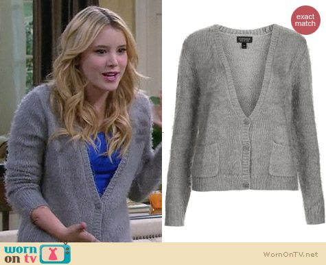 Topshop fluffy v-neck cardigan in grey worn by Taylor Sprietler on Melissa & Joey