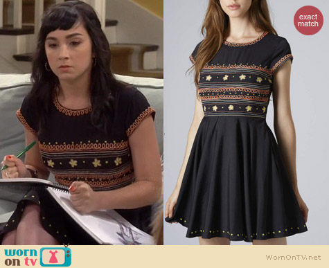 Topshop Folk Embroidered Flippy Dress worn by Molly Ephraim on Last Man Standing