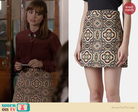 Topshop Folk Jacquard A-Line Skirt worn by Jenna Coleman on Doctor who