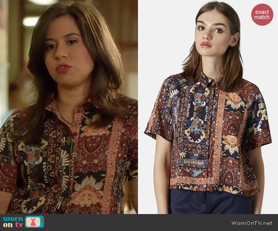 Topshop Folk Print Shirt worn by Chloe Wepper on Manhattan Love Story