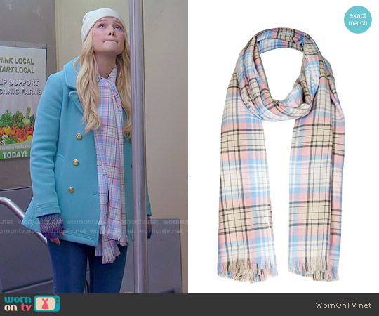 Topshop Fringed Plaid Scarf worn by Lindy Watson on IDDI