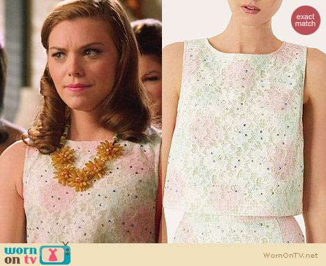 Topshop Gingham Lace Embellished Shell worn by Kaitlyn Black on Hart of Dixie