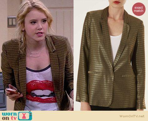 Topshop Gold Diamond Jacquard Jacket worn by Lennox Scanlon on Melissa & Joey