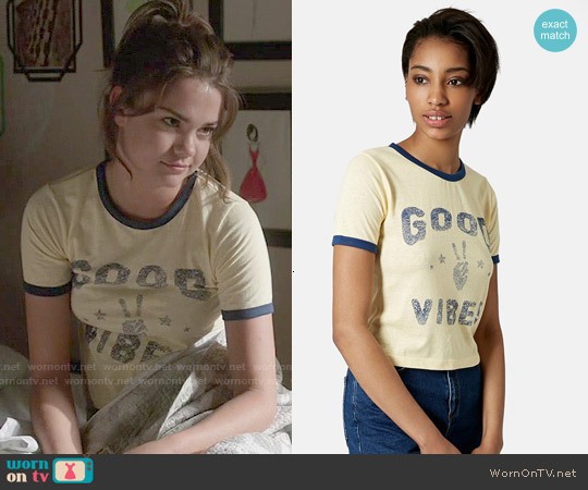 Topshop Good Vibes Crop Tee worn by Maia Mitchell on The Fosters
