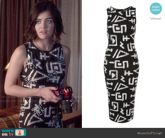 Topshop Graffiti Print Tank Midi Dress worn by Lucy Hale on PLL