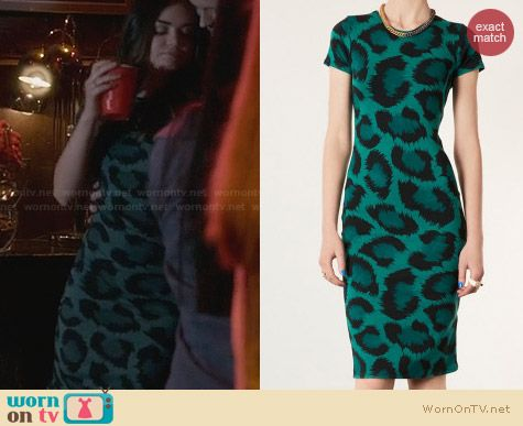 Topshop Green Leopard Print Bodycon Dress worn by Lucy Hale on PLL