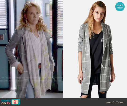 Topshop Grid Check Slim Coat worn by Lea Thompson on Switched at Birth
