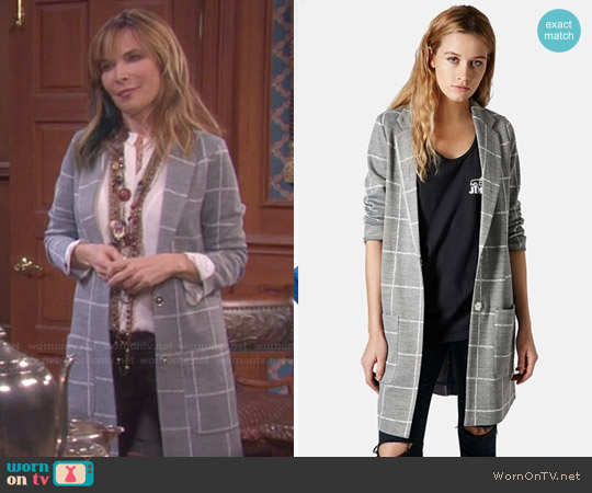Topshop Grid Check Slim Coat worn by Lauren Koslow on Days of our Lives