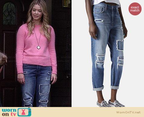Topshop Hayden Patchwork Boyfriend Jeans worn by Sasha Pieterse on PLL