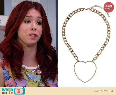 Topshop Heart Chain Necklace worn by Jillian Rose Reed on Awkward