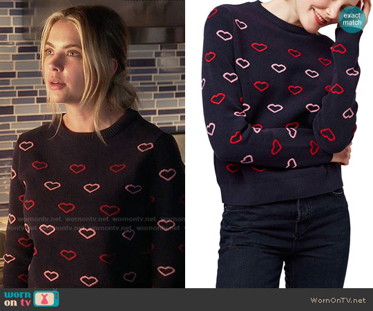 Topshop Embroidered Heart Sweater worn by Ashley Benson on PLL