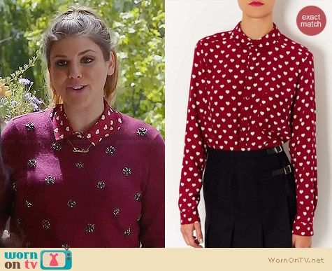 Topshop Heart Print Marocain Shirt worn by Molly Tarlov on Awkward