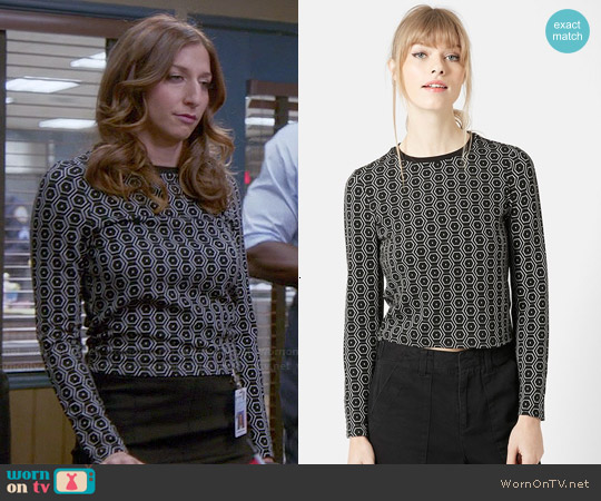 Topshop Hexagon Print Long Sleeve Top worn by Chelsea Peretti on Brooklyn Nine-Nine