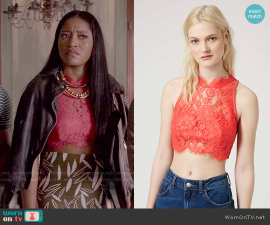 Topshop Lace High Neck Crop Top worn by Keke Palmer on Scream Queens