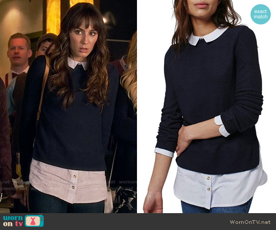 Topshop Hybrid Stripe Trim Sweater worn by Troian Bellisario on PLL