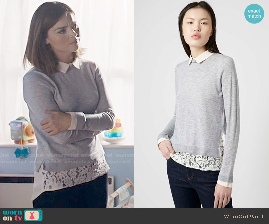 Topshop Hybrid Shirt Jumper worn by Jenna Coleman on Doctor Who