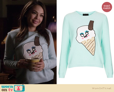 Topshop Ice Cream Applique Jumper worn by Janel Parrish on PLL