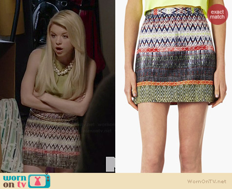Topshop Ikat Pattern Skirt worn by Bailey Buntain on Faking It