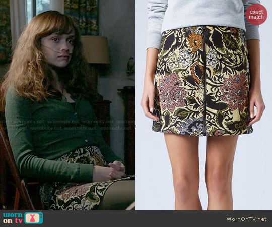 Topshop Jacquard A-Line Skirt worn by Olivia Cooke on Bates Motel