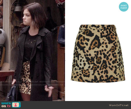Topshop Jacquard Animal Print Pelmet Skirt worn by Lucy Hale on PLL