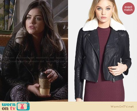 Topshop Jenson Faux Fur Collar Biker Jacket worn by Lucy Hale on PLL