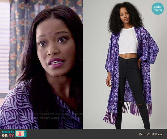 Topshop Key to Freedom Duster Kimono worn by Keke Palmer on Scream Queens