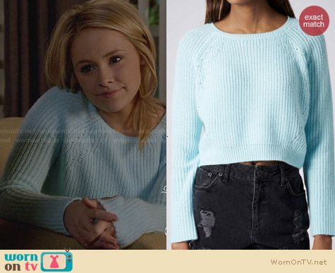 Topshop Knitted Curve Hem Crop Jumper worn by Cassi Thomson on Switched at Birth