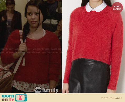 Topshop Knitted fluffy Crew Jumper in Red worn by Cierra Ramirez on The Fosters