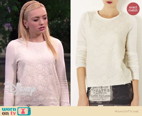 Topshop Lace Overlay Knit Sweater worn by Peyton List on Jessie
