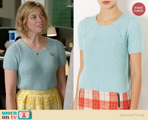 Topshop Knitted Short Sleeve Jumper worn by Analeigh Tipton on Manhattan Love Story