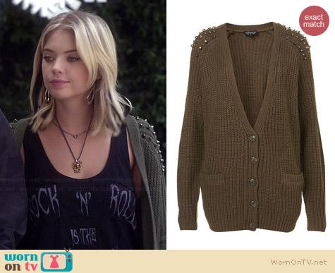 Topshop Knitted Stud Rib Cardigan worn by Ashley Benson on PLL