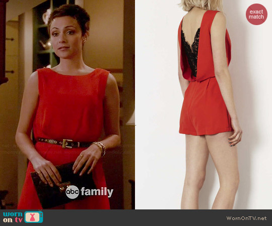 Topshop Lace Back Playsuit worn by Italia Ricci on Chasing Life