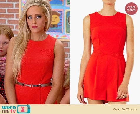 Topshop Lace Panel Romper worn by Carly Chaikin on Suburgatory