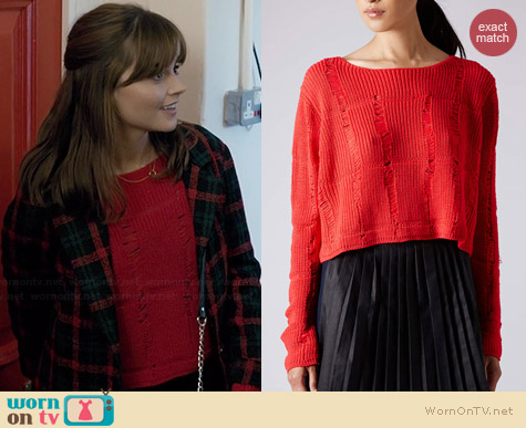 Topshop Ladder Knit Sweater worn by Jenna Coleman on Doctor Who