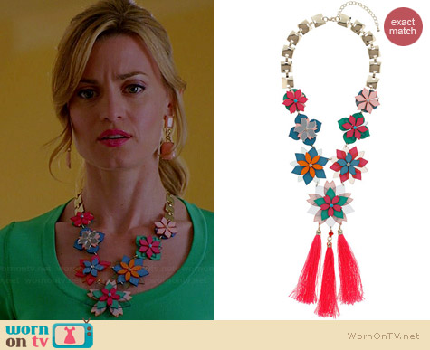 Topshop Layered Flower Tassel Necklace worn by Brooke D'Orsay on Royal Pains