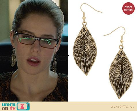 Topshop Leaf Earrings worn by Emily Bett Rickards on Arrow
