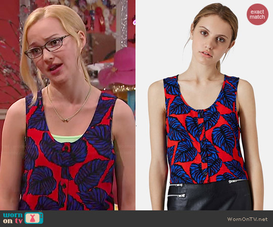 Topshop Leaf Print Crop Tank worn by Dove Cameron on Liv & Maddie