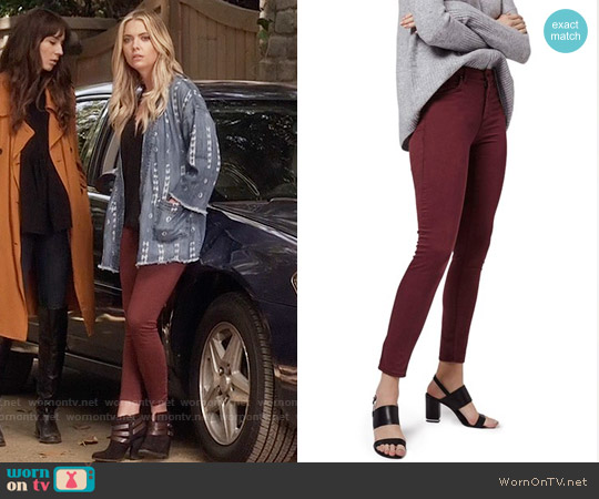 Topshop Moto Leigh Skinny Jeans in Burgundy worn by Hanna Marin on PLL