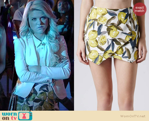 Topshop Lemon Print Skort worn by Bailey Buntain on Faking It
