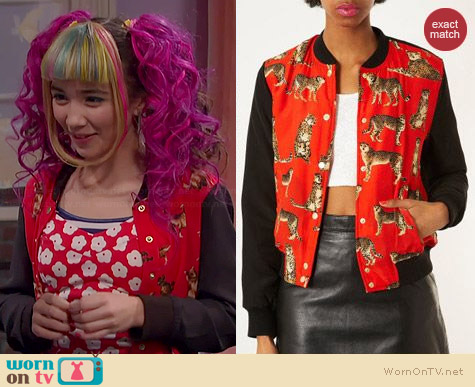 Topshop Contrast Padded Leopard Bomber Jacket worn by Rowan Blanchard on Girl Meets World