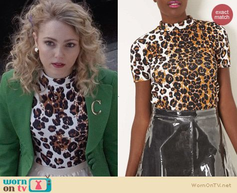 Topshop Leopard Print High Neck Top worn by AnnaSophia Robb on The Carrie Diaries