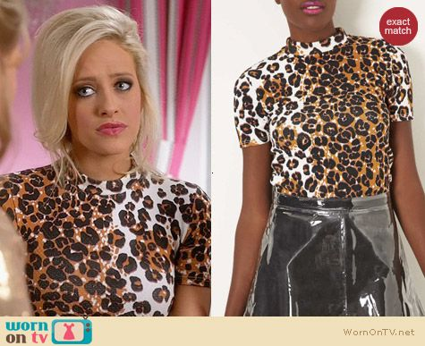 Topshop Leopard Print Mock Neck Top worn by Carly Chaikin on Suburgatory