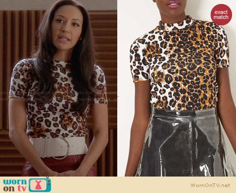 Topshop Leopard Print Mock Neck Top worn by Naya Rivera on Glee