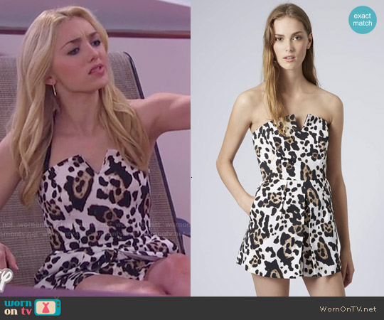 Topshop Leopard Skort Playsuit worn by Peyton List on Jessie
