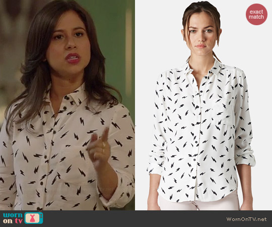 Topshop Lightning Bolt Print Shirt worn by Chloe Wepper on Manhattan Love Story