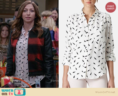 Topshop Lightning Bolt Print Shirt worn by Chelsea Peretti on Brooklyn 99