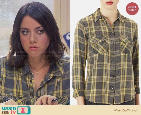 Topshop Maggie Santorini Check Print Shirt worn by Aubrey Plaza on Parks & Rec